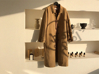 beige button long handmade coat
