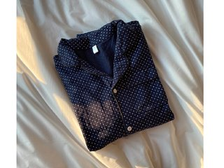 navy dot pajamas set