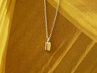 mini square necklace  silver 92.5