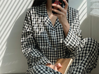 gingham check pajamas set