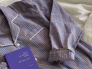 blue stripe pajamas set